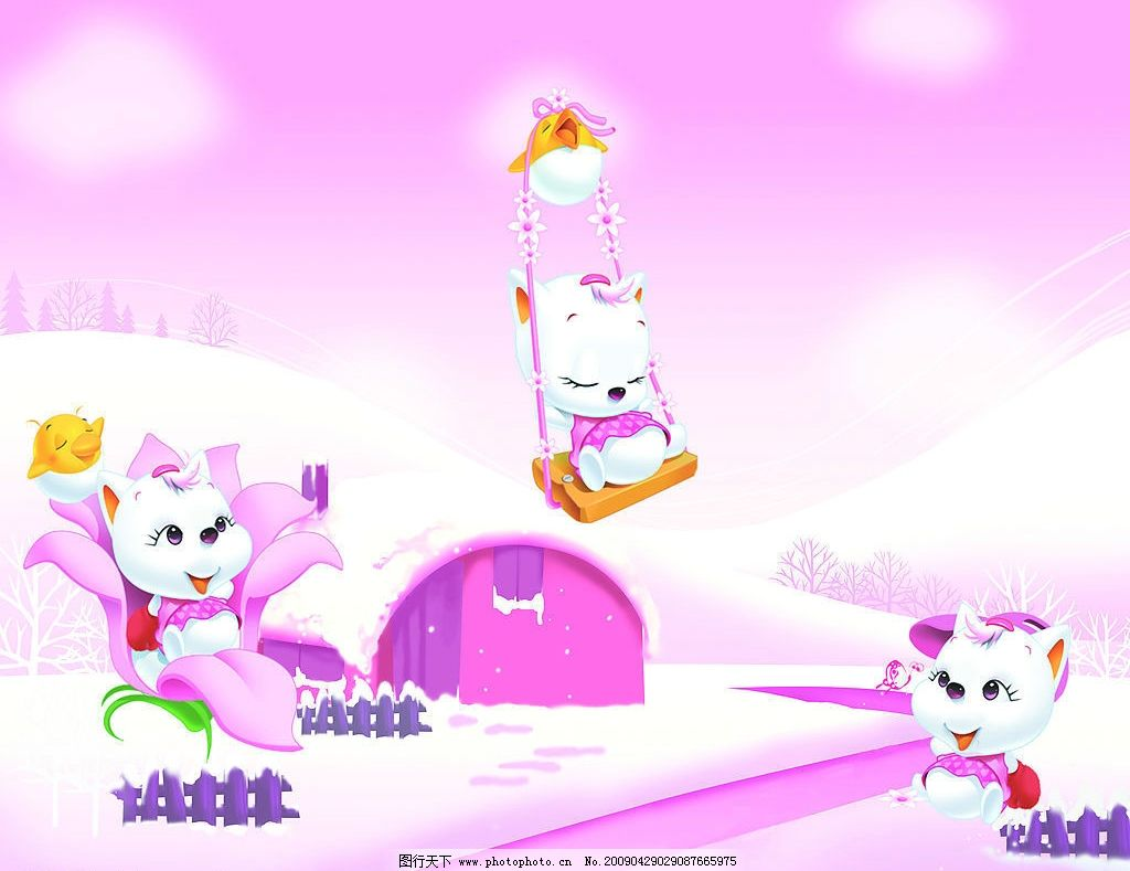 可爱小猫 猫 鸡 秋千 卡通 移门 广告设计 设计图库 42dpi jpg