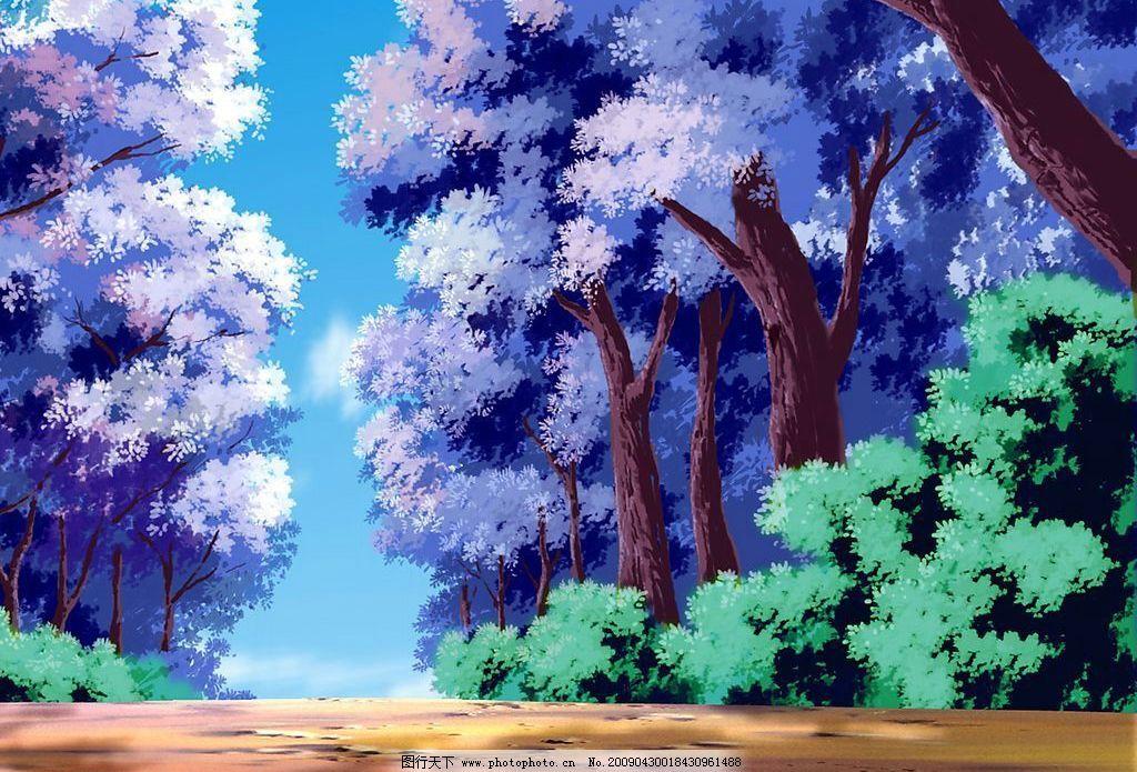 风景漫画 风景 漫画 动画 卡通 场景 樱花树 草丛 林荫道 树林 动漫