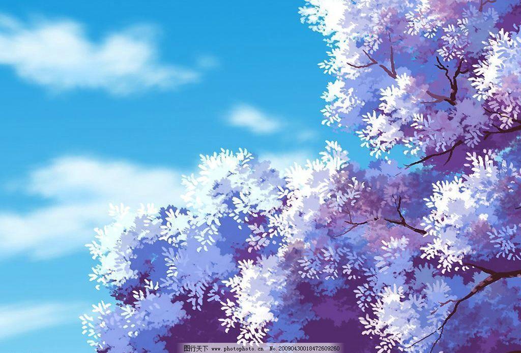风景漫画 风景 漫画 动画 卡通 场景 樱花树 蓝天 白云 动漫动画 设计