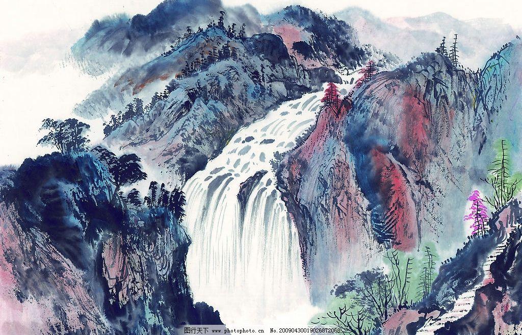 水墨山水画 水墨 山水 山路 瀑布 高清 素材 文化艺术 绘画书法 设计