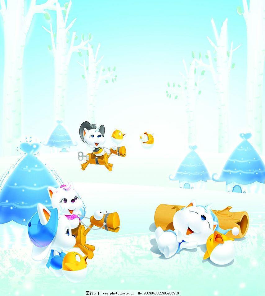 可爱小猫 树 房子 树叶 雪地 广告设计
