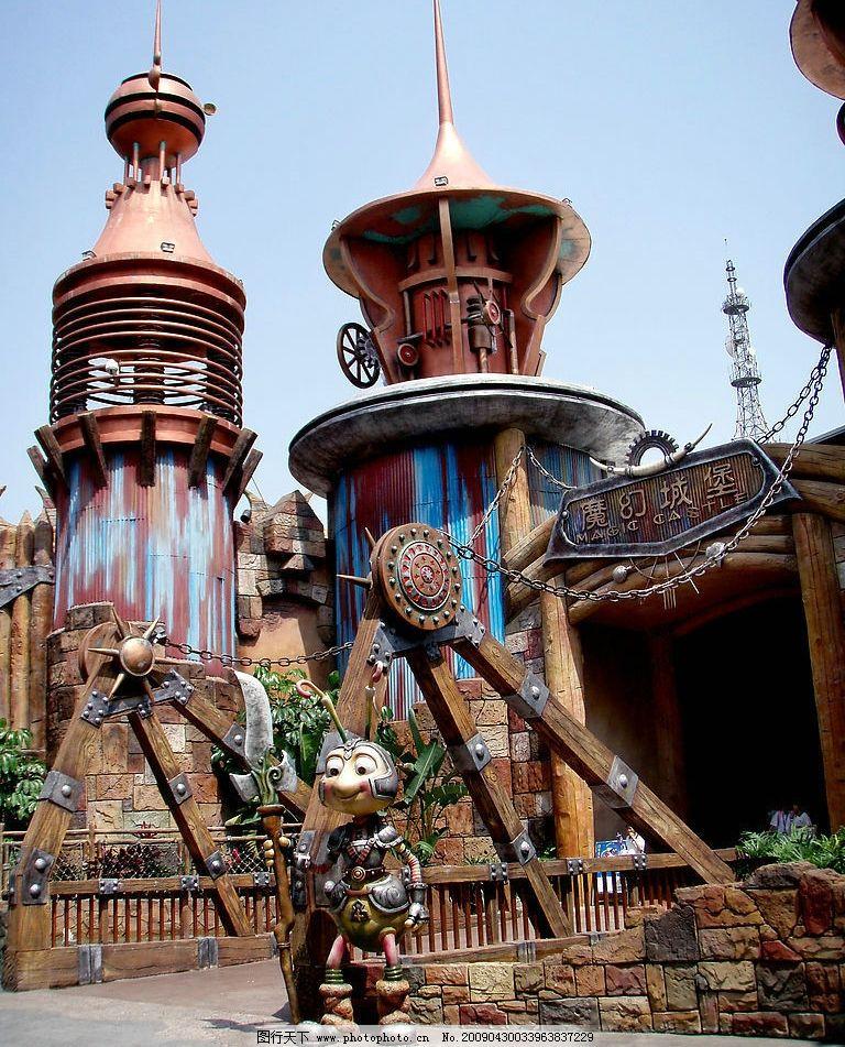 欢乐谷魔幻城堡 魔幻城堡大门 特色城堡建筑 可爱的小门卫塑像 旅游