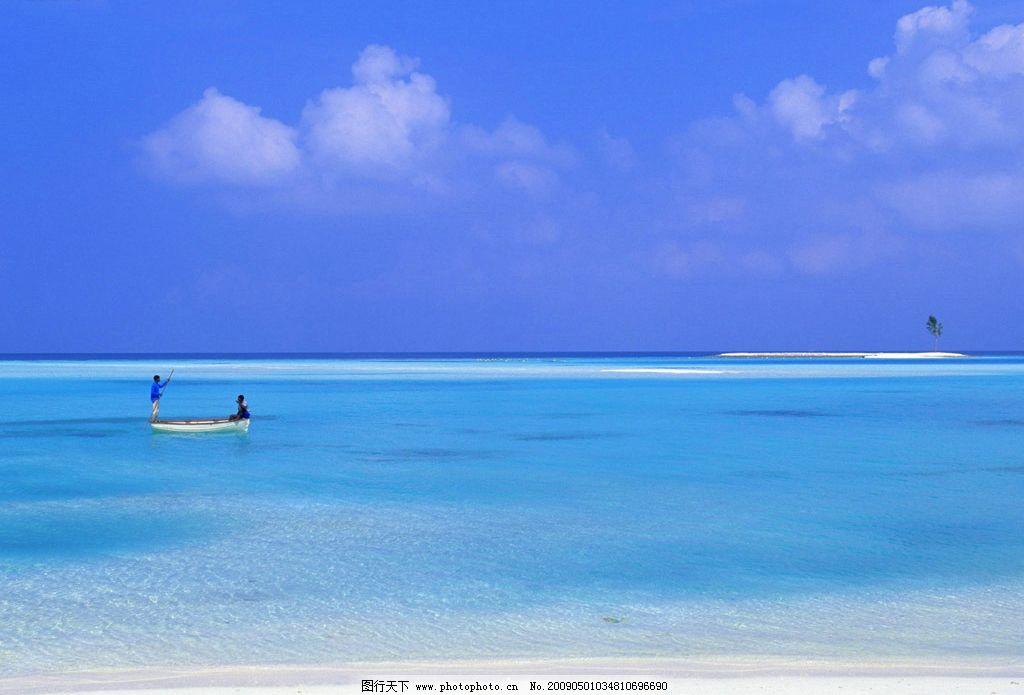 海边风光 大海 白云 沙滩 自然景观 自然风景 摄影图库