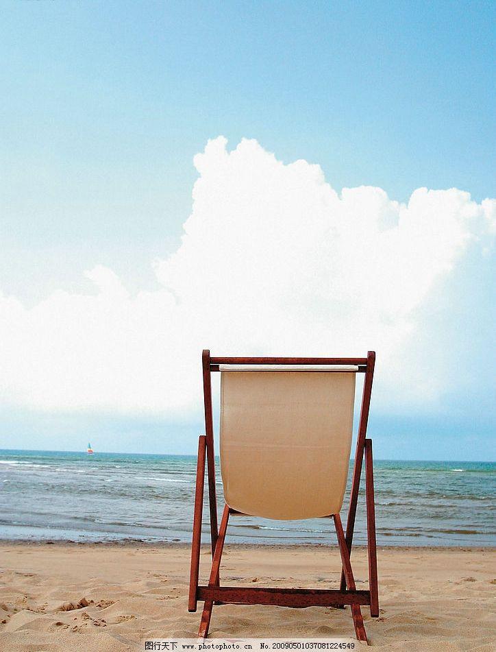 海边 蓝天 沙滩 椅子 生活素材 摄影图库图片