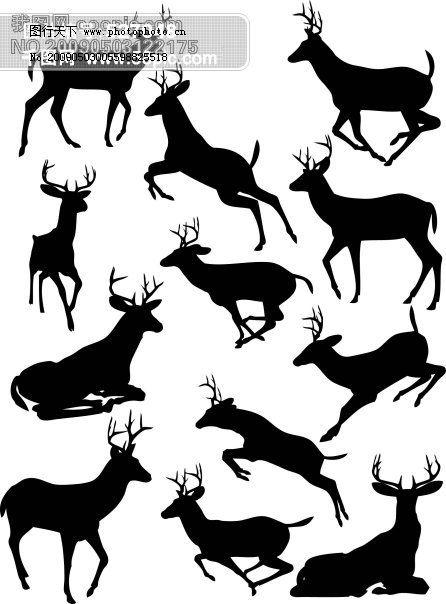 黑白 多种运动姿态 鹿的剪影