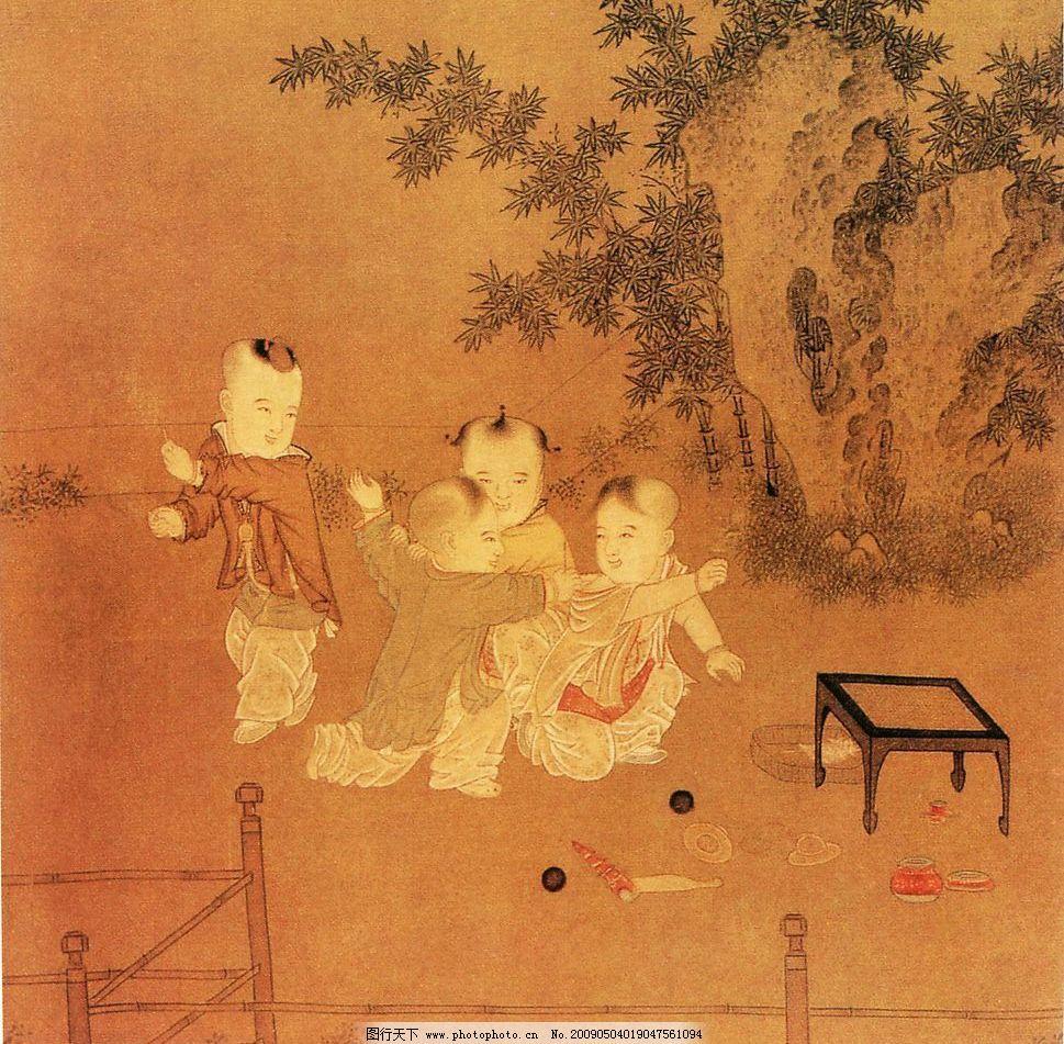 古代人物 顽童 假山 竹子 水墨画 竹篱笆 文化艺术 绘画书法 设计图库