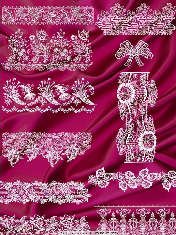 精美蕾丝花边花纹 红绸缎 布料 源文件库