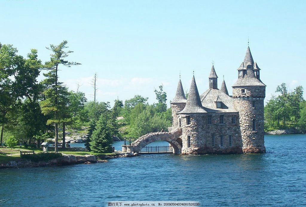 风景 湖水 城堡图片