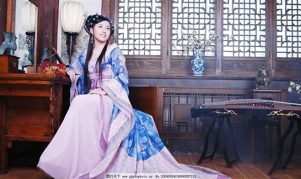 蓝衣古装美人 蓝衣古装mm 蓝衣 古装 美人 美女 mm 古典 汉服 古琴