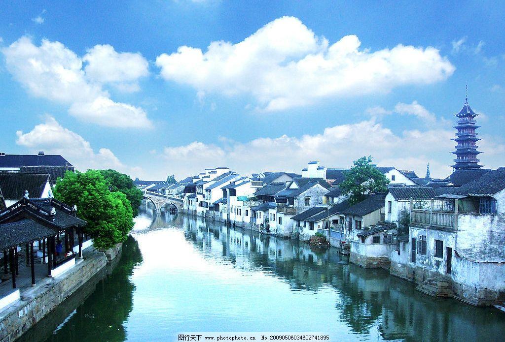 千灯古镇 小桥流水人家 昆山 苏州 自然景观 风景名胜 摄影图库 300