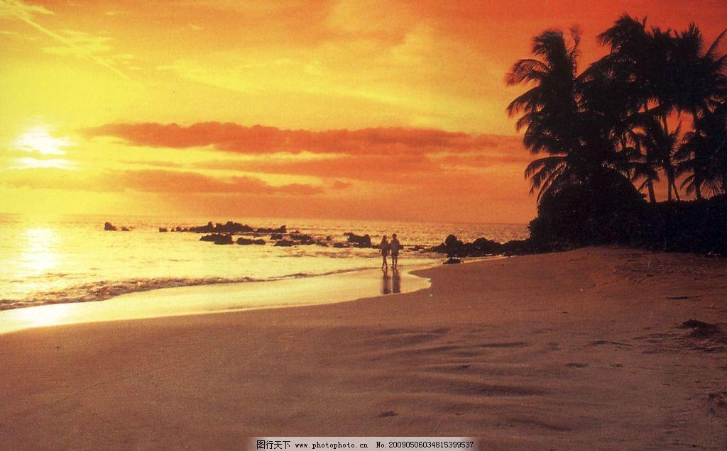 夕阳 日落 海滩 沙滩 情侣 恋人 椰树 自然景观 自然风景 摄影图库