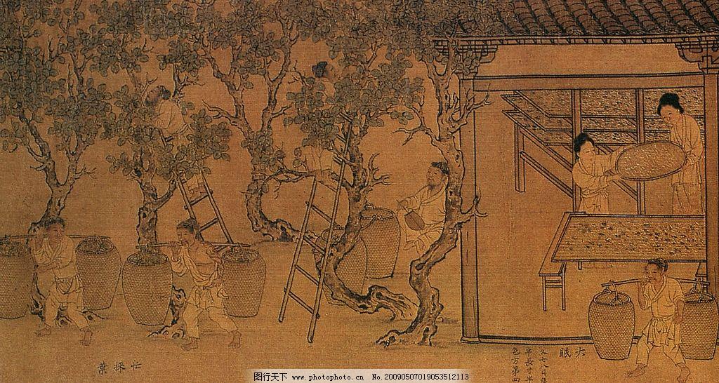 古代人物 水墨画 树 房子 楼梯 桑树 养蚕 摘桑树叶 文化艺术 绘画
