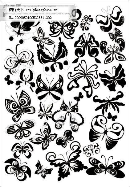 黑白蝴蝶矢量素材