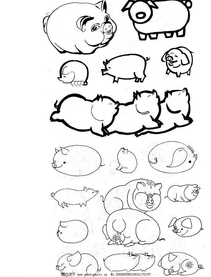 卡通动物扫描 卡通 动物扫描 手绘卡通 简单动物 单黑 文化艺术 绘画