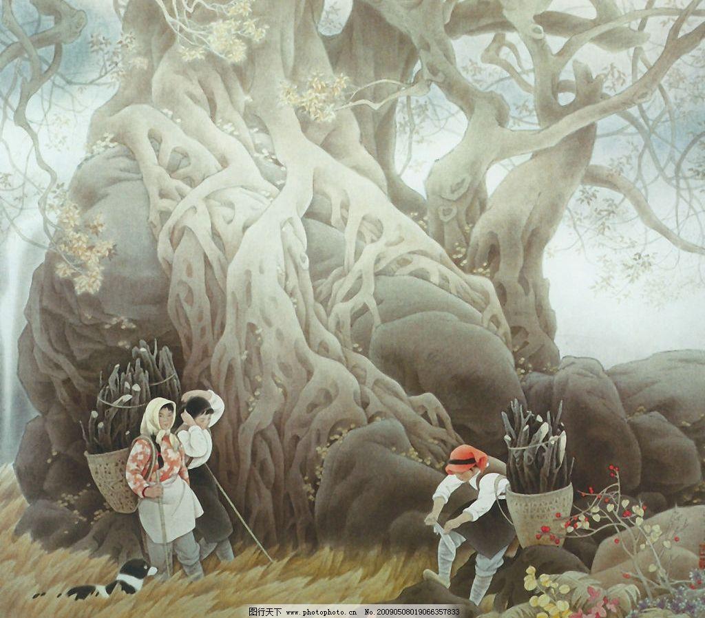 大榕树下图图片_绘画书法_文化艺术_图行天下图库