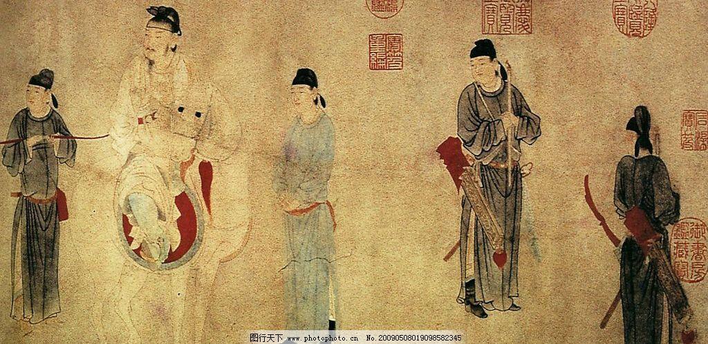 古代人物 水墨画 箭袋 弓 马 骑马人 印章 文化艺术 绘画书法 设计