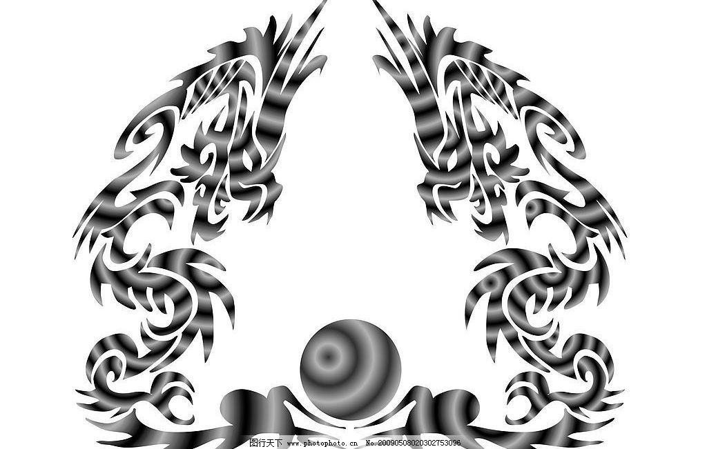 龙 龙珠 双龙 银灰色 其他 图片素材 设计图库 300dpi jpg 底纹边框