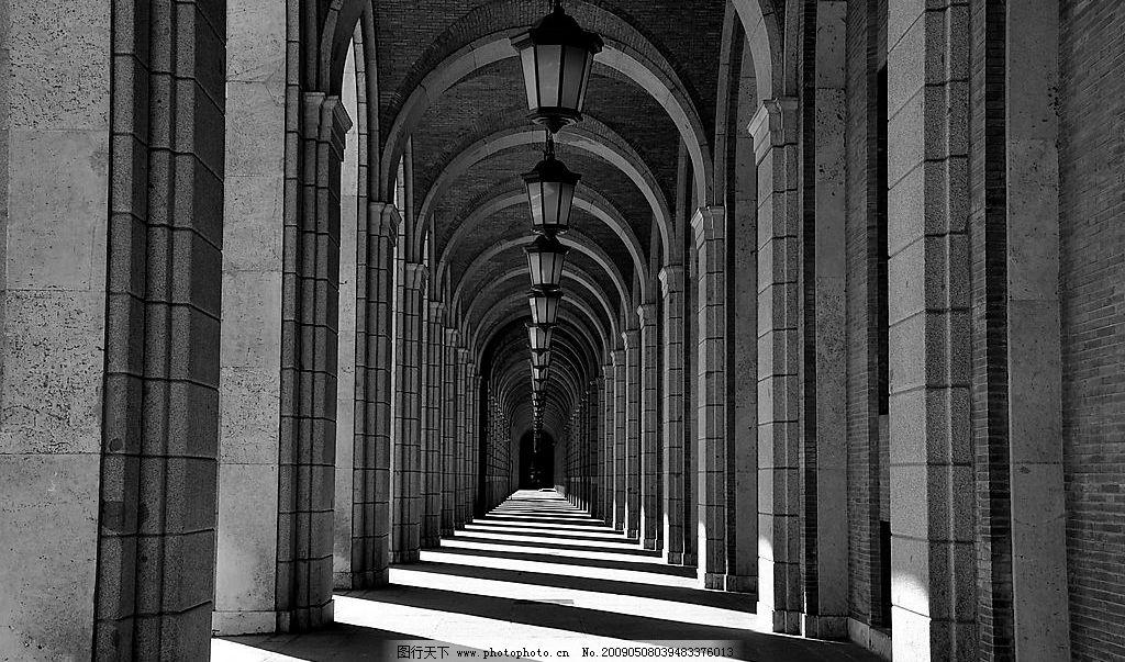 拱门 建筑 欧式 拱形 透视 黑白建筑摄影 阳光 建筑园林 建筑摄影