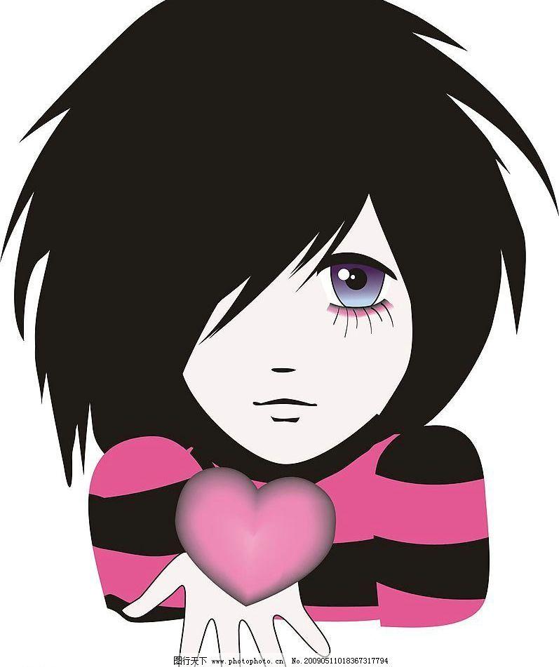 可爱卡通 卡通人物 女孩 爱心 人物图库 其他 设计图库 300dpi jpg