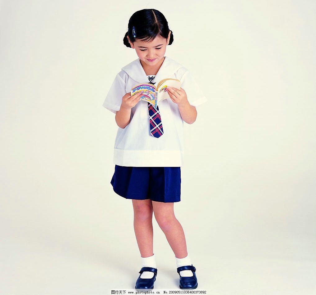 儿童 幼儿 小女孩 小朋友 小可爱 学生 校服 看书 人物图库 儿童幼儿
