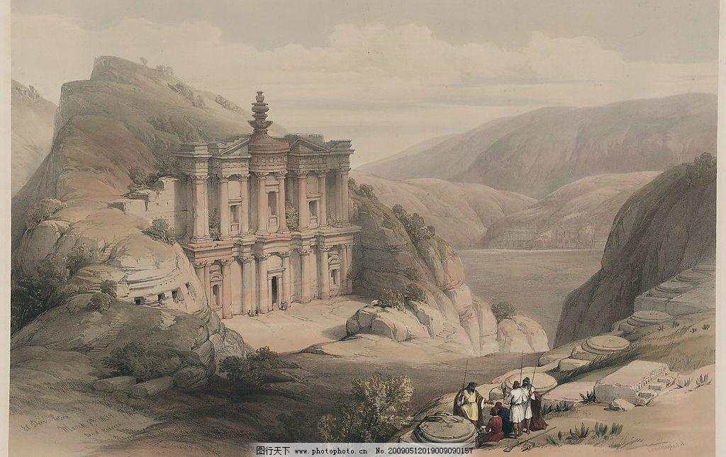风景画 素描 淡彩 欧洲 古典 山峦 文化艺术 绘画书法 设计图库 300