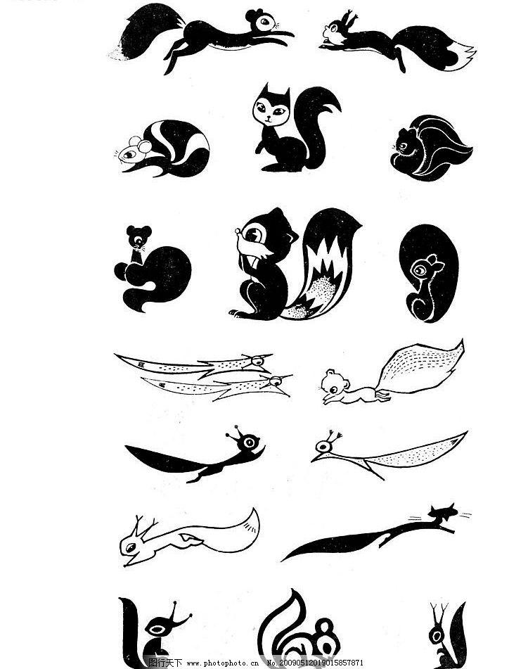 动物扫描 动物 卡通动物扫描 单黑 手绘动物 线条 狐狸 文化艺术 绘画