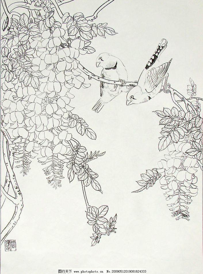 白描 小鸟 花木 文化艺术 绘画书法 设计图库 72dpi jpg