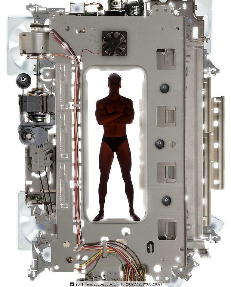 机器人 抽象科技创意人物合成图片 抽象 科技 创意 人物 电路 it 广