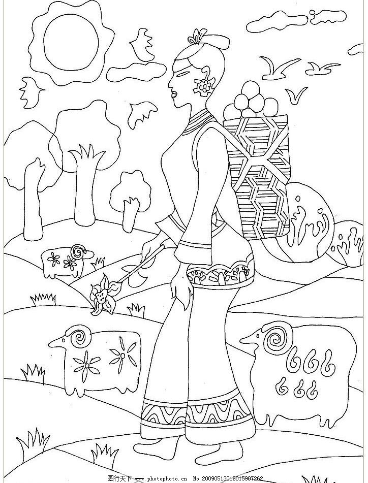 黑白线描装饰画Ⅰ 随笔手绘 书法绘画 丹阳翼网