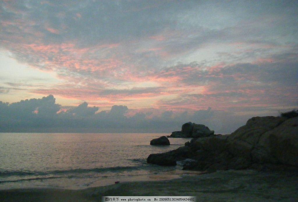 夕阳下山海景 云朵 海水 石头 沙滩 自然景观 自然风景 摄影图库 72