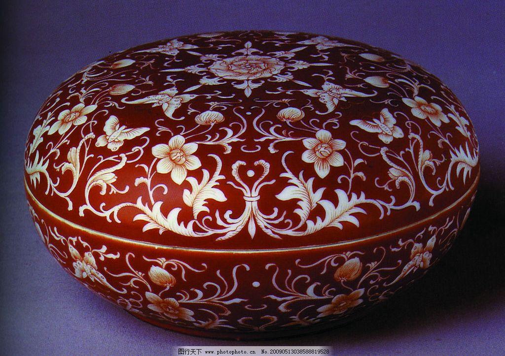 瓷器 古典 盒 花纹盒 红色 古典花纹 传统盒