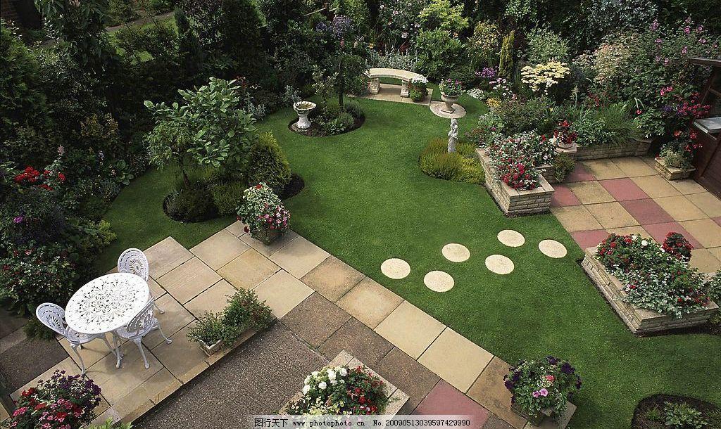 花园俯视 花园 园林 休闲 座椅 草坪 石材 建筑园林 园林建筑 摄影