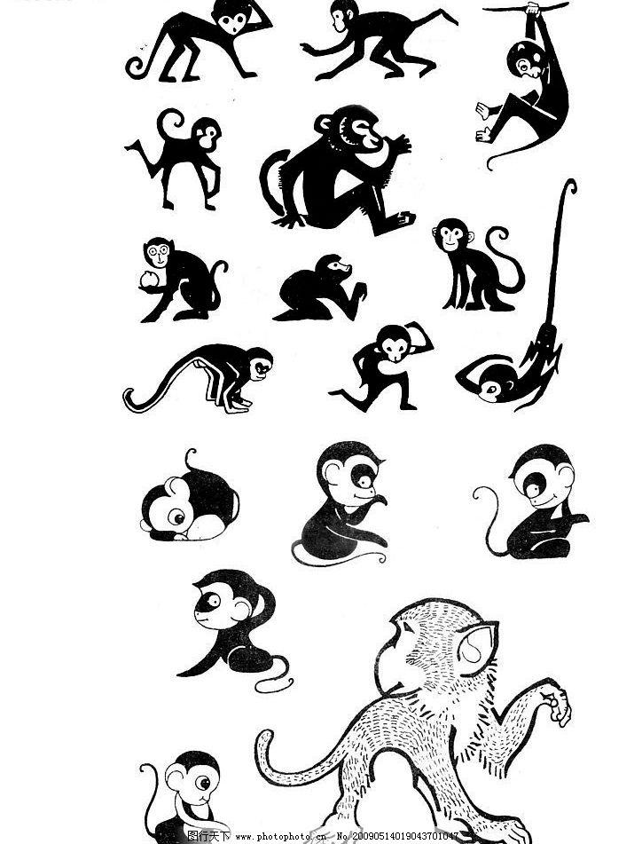 猴子 卡通动物 手绘动物 简单 单黑 线条 小动物 动物扫描 文化艺术