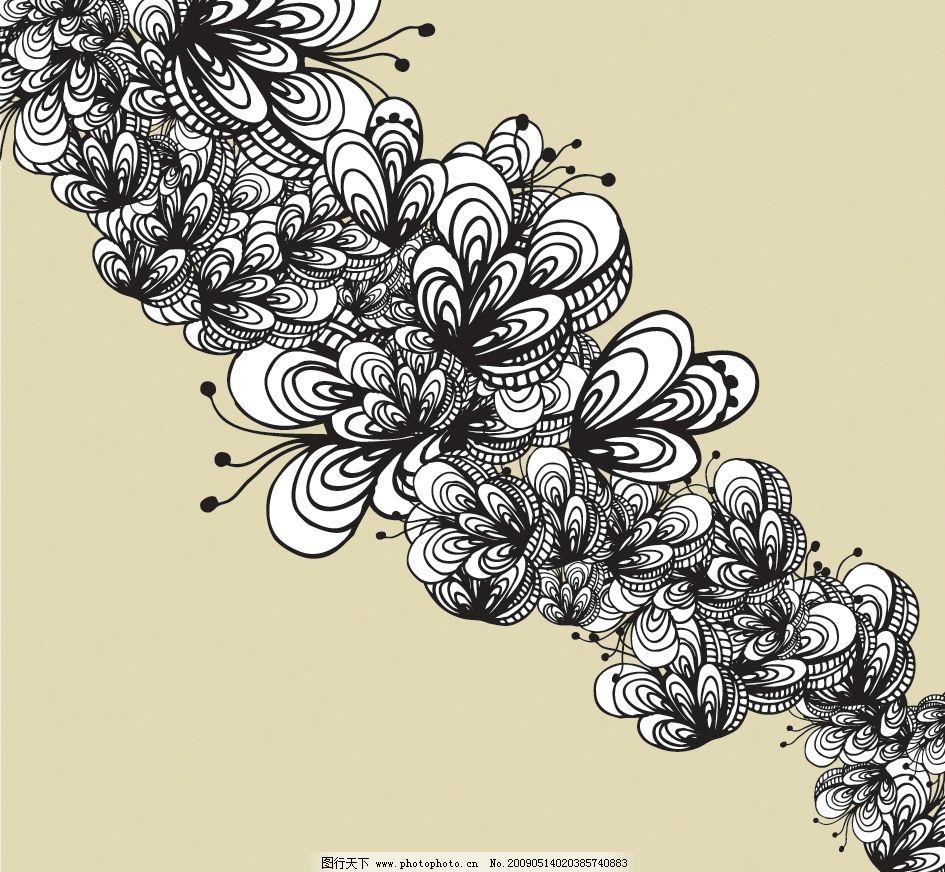 线描花纹矢量 线条 花朵 潮流插画 另类插画 底纹边框 花纹花边