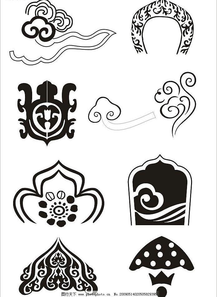 传统图案 花边 底纹 如意纹 云纹 线图 底纹边框 条纹线条 设计图库