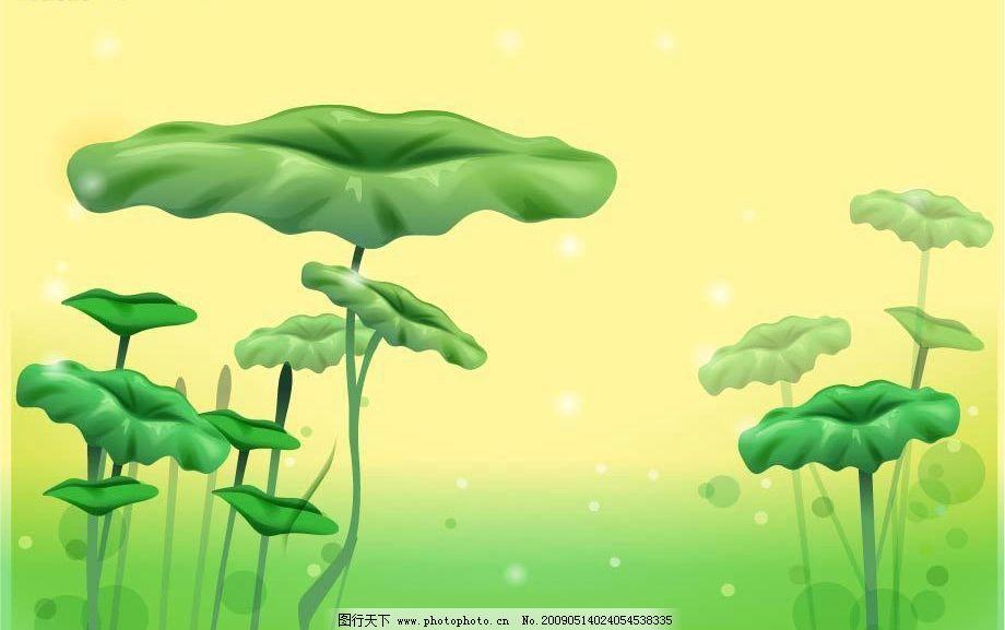 荷叶 树叶 莲 绿色 移门 自然风景 矢量图库