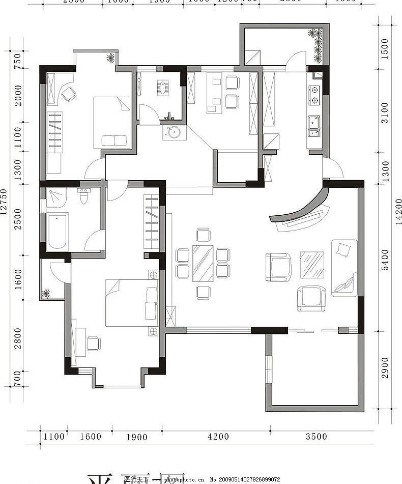 室内平面图 建筑家居 室内设计 矢量图库 cdr