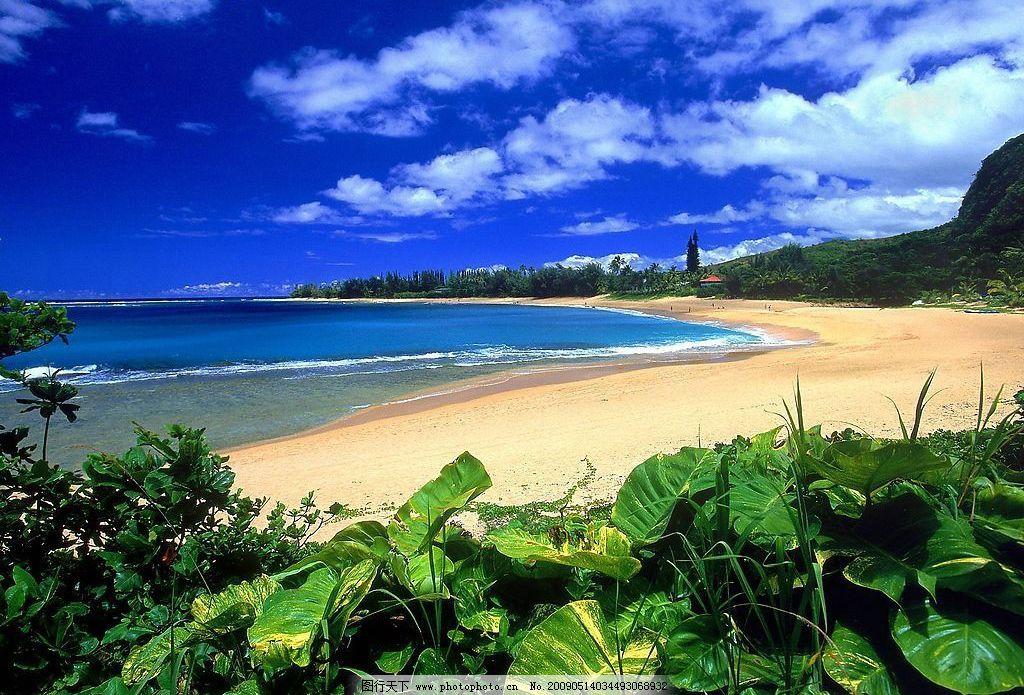 风景山水 大海 沙滩 蓝天 房 摄影图库
