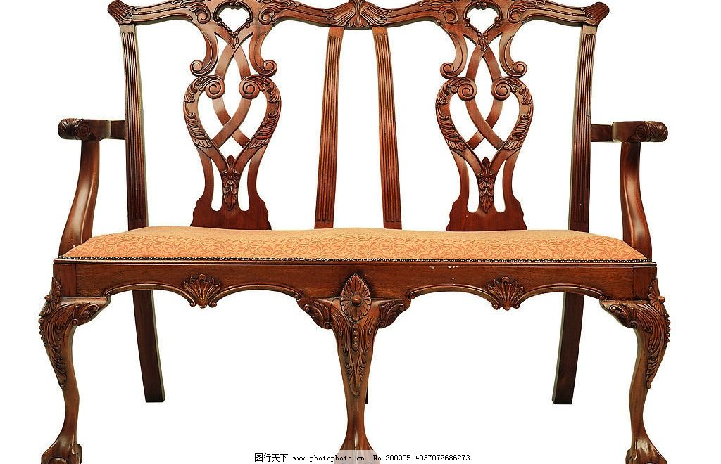 木雕椅子 木雕 双人椅子