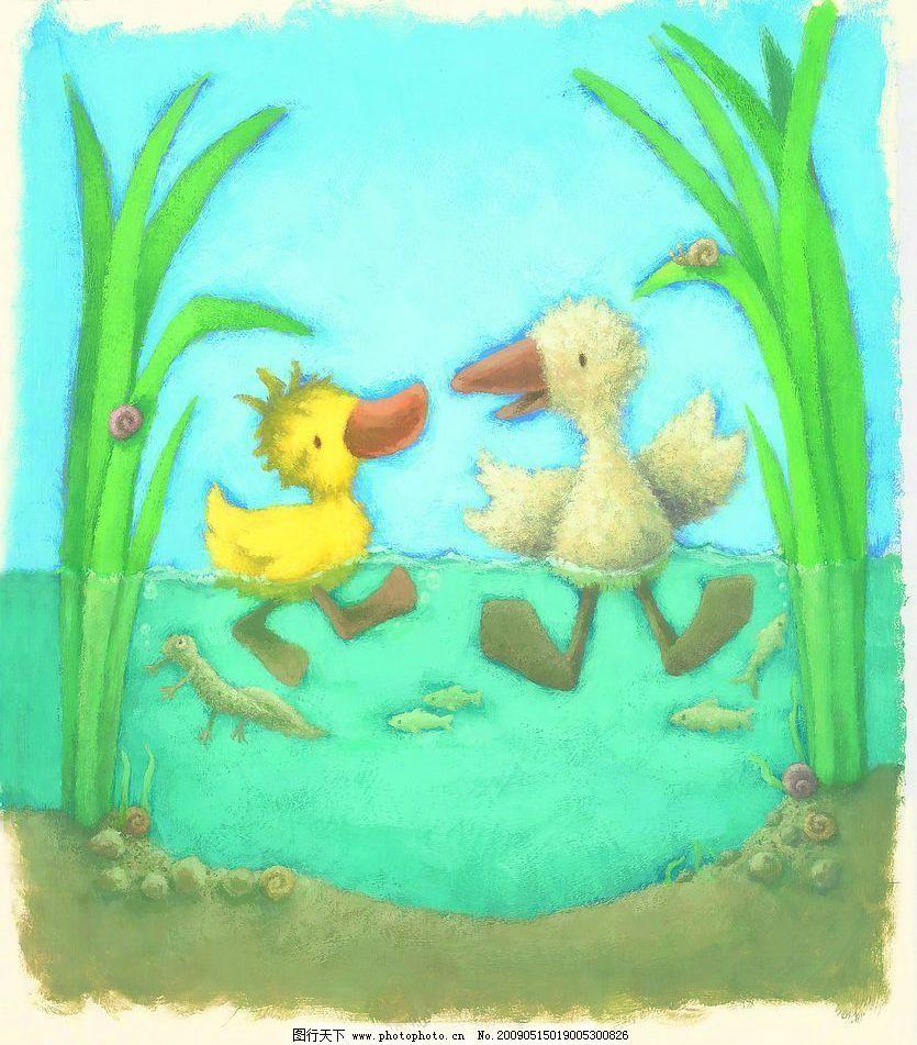 小鸭 绘画 动物 300dpi 风景 底纹 文化艺术 绘画书法 设计图库 jpg