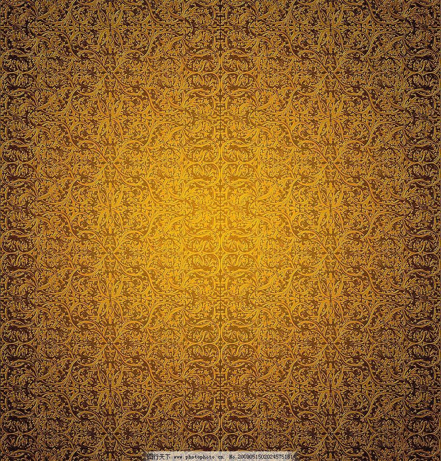 尊贵欧式花纹背景 金黄色 品质 高贵 底纹边框 背景底纹 设计图库 250