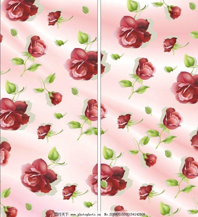 玫瑰花 移门 粉色 背景 底纹 花的海洋 矢量图库 广告设计 移门图案