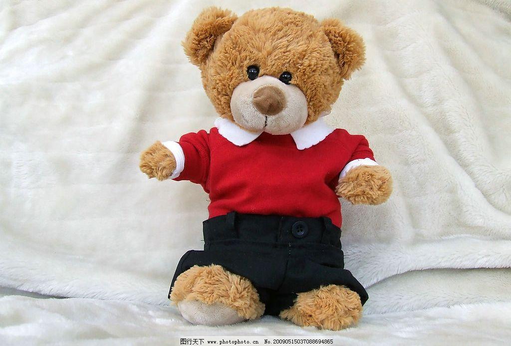 泰迪熊 小熊 玩具 娃娃 玩偶 红 短裤 黑 可爱 幸福 生活素材