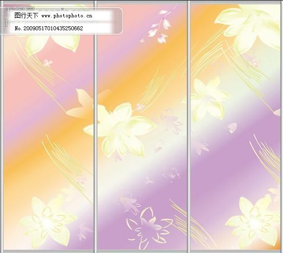 设计图库 装饰素材 移门  玻璃移门 玻璃移门矢量图 花朵 花纹移门