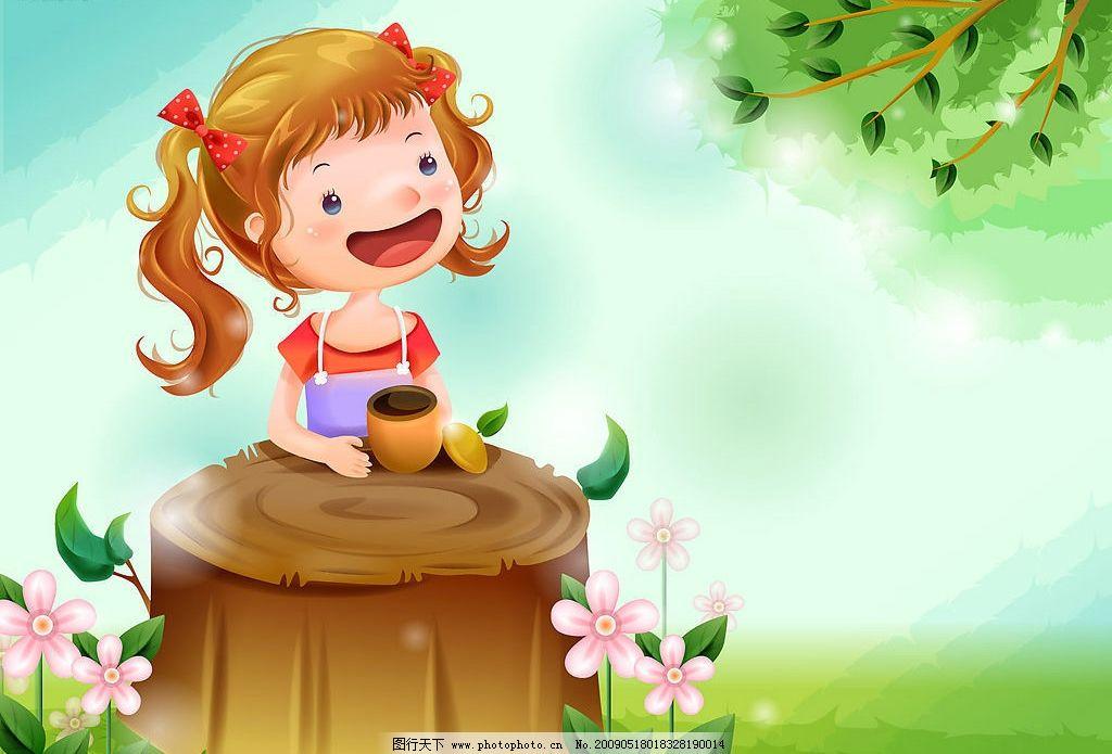 可爱女孩儿童插画 底图 插图 树 自然 桌面 背景 动漫动画