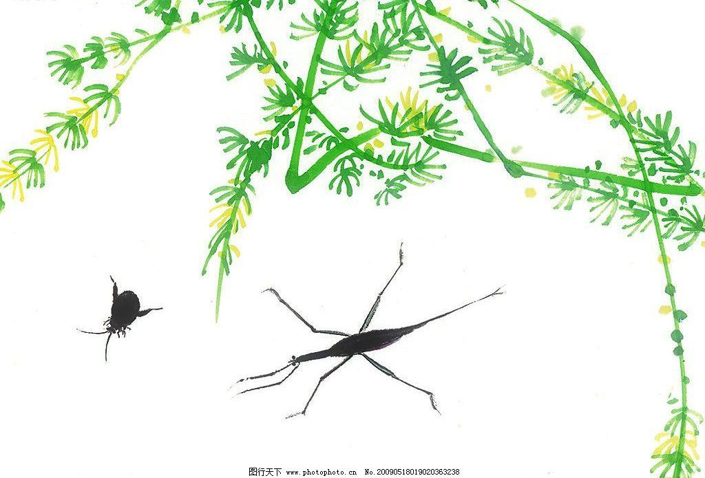 昆虫世界 中国水墨画 古典 花草 昆虫 花朵 植物 线条 水墨 文化艺术