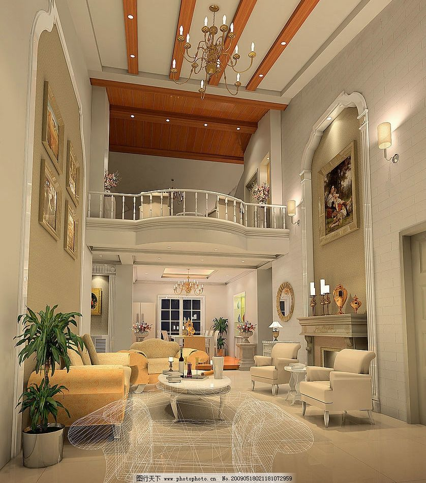 欧式别墅客厅设计 室内