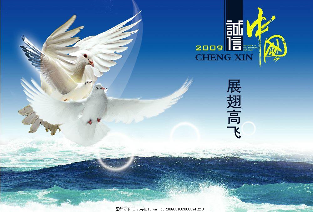 白鸽 海浪 展翅 广告设计模板 源文件库