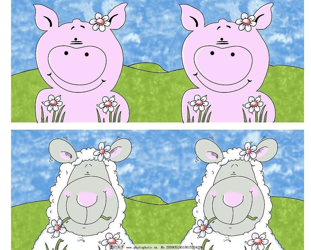 小猪小羊 小猪 小羊 动漫动画 其他 设计图库 300dpi jpg