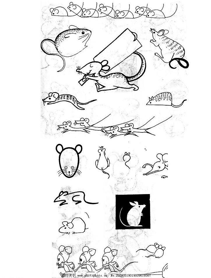 卡通动物 简单 线条 单黑